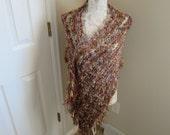 Hand knit multi-ribboned and eyelash yarn shawl