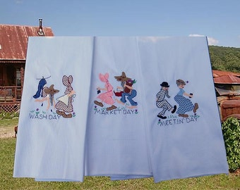 Hillbilly Days of the Week DOW Embroidered Tea Towels with Bonus