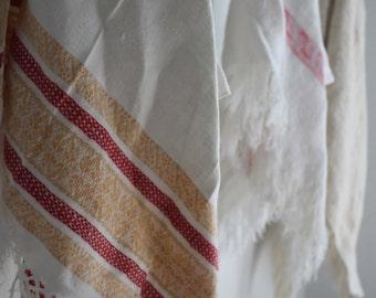 Vintage Red Stripe Dish Towels