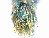 Opal moon - long hand painted Teeswater locks for Waldorf or Blythe doll hair, reroot,  spinning wool, batt making and felting texture