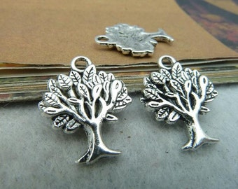 8 Tree Charms Silver Tone Trees with Full Family Branches Nature Charm Jewelry  Supplies 16x22 mm