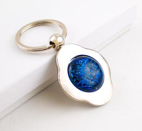 unique key chain silver key ring four leaf clover keychain