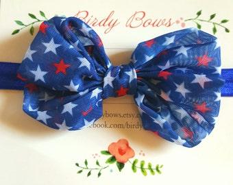 July 4th Chiffon Bow Headband, Baby Headbands, Baby Girl Headbands, Infant Headbands, Baby Bow, Infant Bow, Girl Headband
