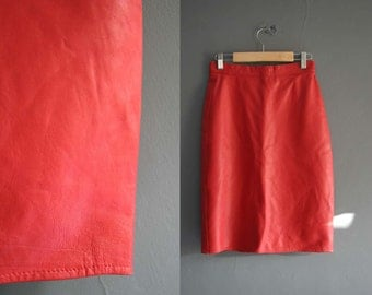 "Red Leather Pencil Skirt 24"" Waist XS"