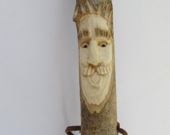 Walking Stick Hiking Stick Wood Spirit Face Hand Carved Stick Staff Birthday Anniversary Gift for Hiker Gift for Walker
