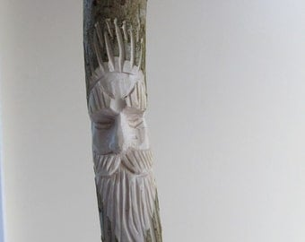 Walking Stick Hiking Stick Wood Spirit Hand Carved Face Staff Carved Face Carved Stick Gift for Hiker Gift for Walker Birthday Anniversary