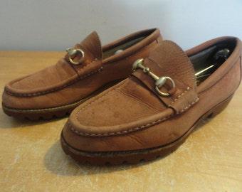 Vintage Pink Nubuck GUCCI Horsebit Slip-On Loafers Mocs Casual Shoes Sz-41D US-8