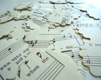 "100 1.25"" One and a Quarter Inch Flowers Paper Punch Sheet Music Double Sided One Hundred Hand Punched 1 1/4"""