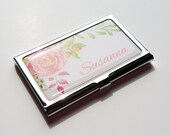 Personalized Business Card Holder, Custom Flower Business Card Case, Stainless Steel Credit Card Holder, Personalized Gift, gift for her E05