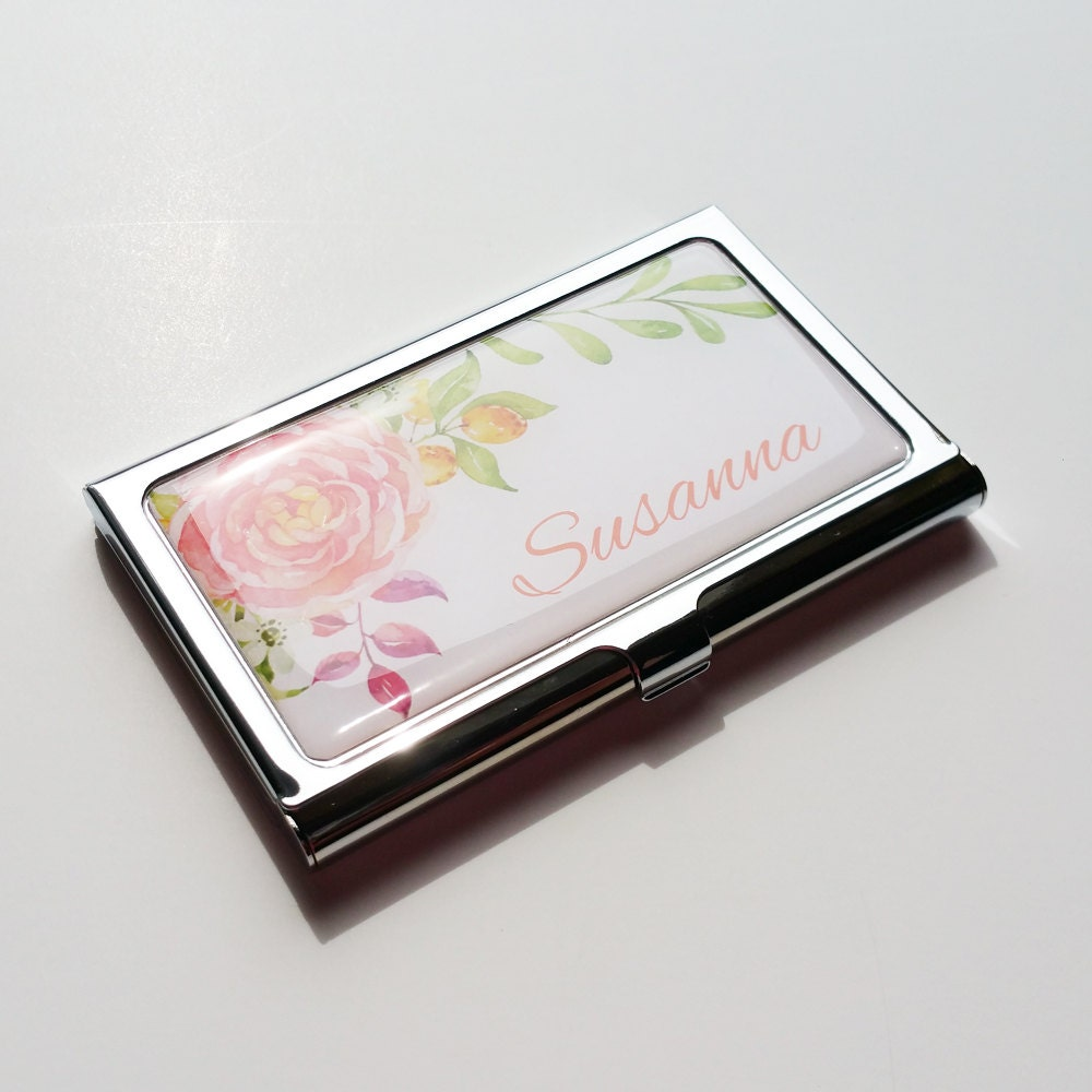 Personalized business card holder custom flower business card for Custome business cards