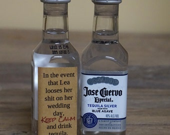 Funny Bridesmaid Gag Gift Customizable Mini Tequila Labels