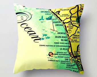 California Map Pillow Cover, San Diego Pillow, Decorative Throw Pillow, Del Mar, La Jolla, Oceanside, California Pillow Map Art, Map Pillow