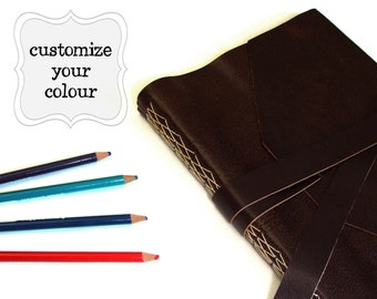 "Customized Extra Large Leather Journal 8"" x 10"" - Choose your Leather & Thread colours"