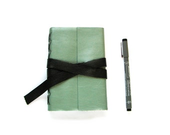 "Sea Foam Green Leather Journal or Leather Sketchbook 4"" x 6"""