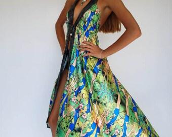Sexy Women Summer Long Maxi Elegant Resort Open Front Green Print Chiffon Dress