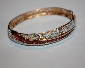 Vintage Sterling Silver Ruby Bangle Bracelet 1980s Jewelry