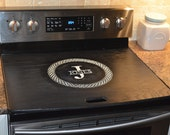Celtic Stove Top Cover Black/white - Range Topper Engraved