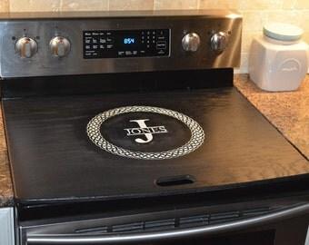 Celtic Stove Top Cover Black/white - Range Topper Engraved