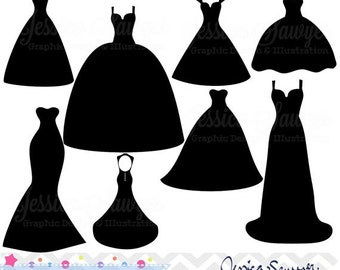 80% OFF - INSTANT DOWNLOAD, wedding dress clipart, silhouette clipart,  for greeting cards, announcements, scrapbooking