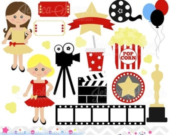 80% OFF - INSTANT DOWNLOAD, movie clipart, oscar clip art, for commercial use, personal use