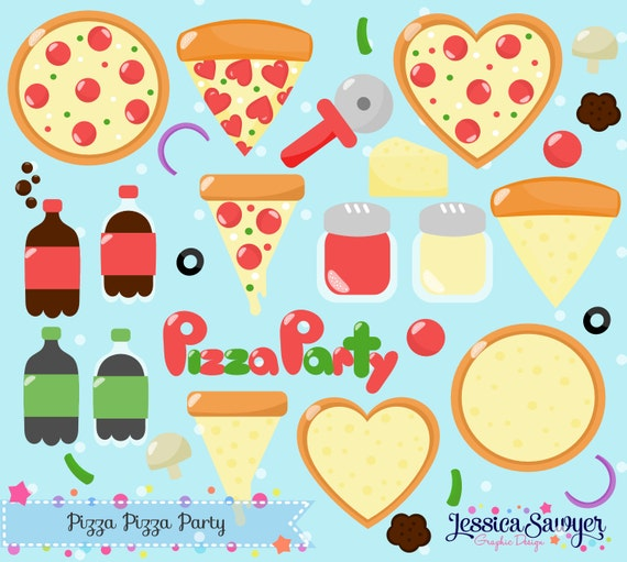 INSTANT DOWNLOAD pizza clipart and pizza party vectors for