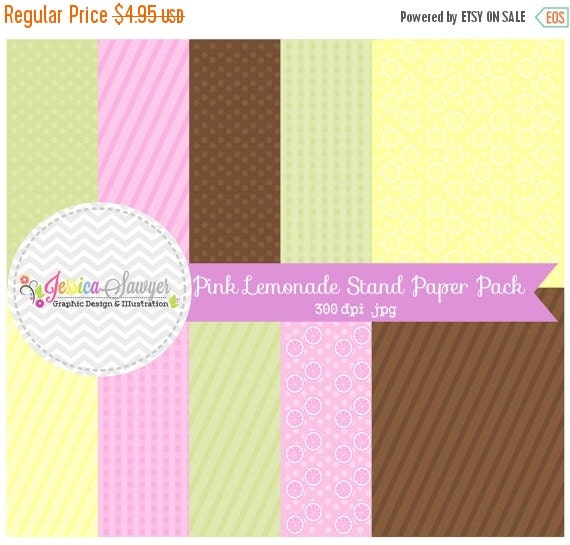 80% OFF - INSTANT DOWNLOAD,  lemonade stand digital papers, pink stripe background, fruit clipart, whimsical printable, commercial use for i