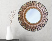 Round Mirror, Mosaic Mirror, Brown and Gold, Decorative Mirror in Geometric Pattern