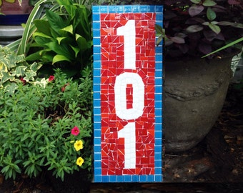Mosaic Address Plaque in Blue and Red, Colorful and Personalized Outdoor House Number Sign, Housewarming Gift