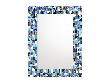 blue mosaic mirror etsy