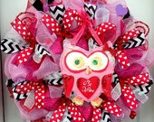 THREE AVAILABLE!!!!  Valentine's Be Mine Valentine - Deco Mesh Wreath - Valentines Wreath - Door Decoration - Owl Wreath - Valentines Decor