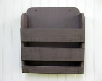 RESERVED Small Wooden New Design Lightly Distressed Plum Gray Graphite Wall Magazine Rack Menu Holder Vintage Design