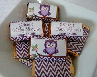 PERSONALIZED Printable Mini Candy Bar Wrappers for Baby Shower - Custom Chocolate Bar Party Favors - Plum Purple Owl  - Baby Girl - G024