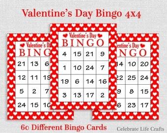 Valentine Bingo Game - 60 Printable Valentine's Bingo Cards - FREE Valentine Favor Bag Toppers - Numbers 1-25 - Valentine Activity