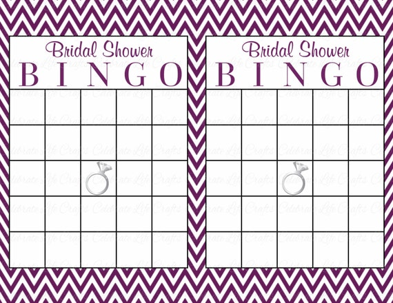 Purple Bridal Bingo Cards  Blank  Prefilled Cards
