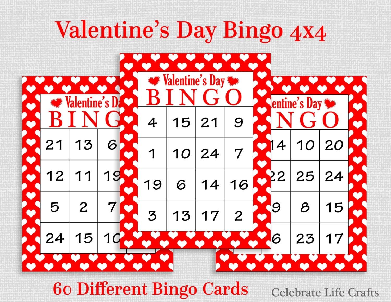 Valentine Bingo Game 60 Printable Valentine's Bingo