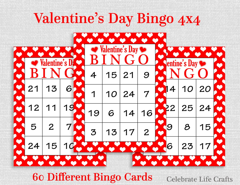 Valentine Bingo Game 60 Printable Valentines Bingo – Free Printable Valentines Day Bingo Cards
