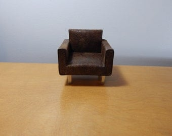 1:12 Scale Miniature Modern Faux Leather Chair