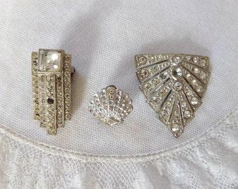 Vintage Rhinestone Dress Clip Lot 3 Clips Missing Stones