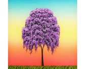 Willow Tree Print, Lavender Weeping Willow Tree Art Photographic Print, Bright Modern Art, Boldly Colored Wall Art, Colorful Affordable Art