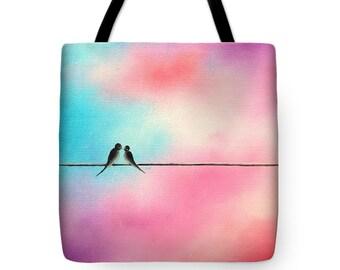 Love Birds Tote Bag, Birds on a Wire Art Diaper Bag, Yoga Bag, Canvas Tote, Bridesmaid Gift, Bookbag, Pink Handbag, Pastel School Bag, Purse