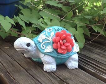 Embellished Garden Turtle - Aqua Blue Whimsy Garden Statue - Blue Garden Decor - Birthday