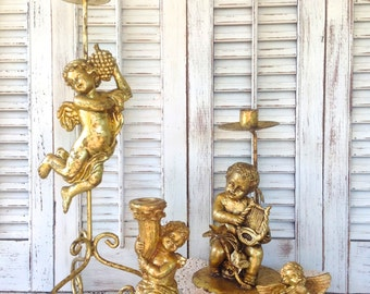 Metallic Gold Ornate Cherub Candlesticks - Set of 4 Eclectic Table Top Taper Holders -Christmas Candleholders