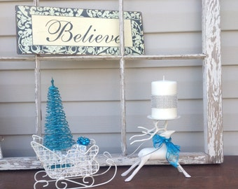 White Reindeer Candle Holder & Sleigh w/ Sparkly Blue Wire Christmas Tree / Christmas Mantel Holiday Decor / Table Top Ornament Centerpiece