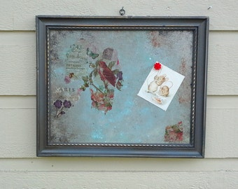 Framed Memo board with magnetic insert, Vintage wood frame painted silver, distressed, rusted, decoupaged with Paris images, photo frame