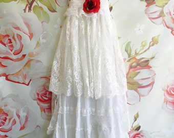 white & silver threaded tiered cotton and eyelash lace boho wedding dress by mermaid miss Kristin
