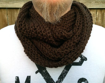 Men's Infinity Scarf, Brown Men's Cowl Scarf, Crochet Mens Scarf, Chunky Scarf for Guys, Gift for Men, Guys Gift, Guys Hipster Scarf