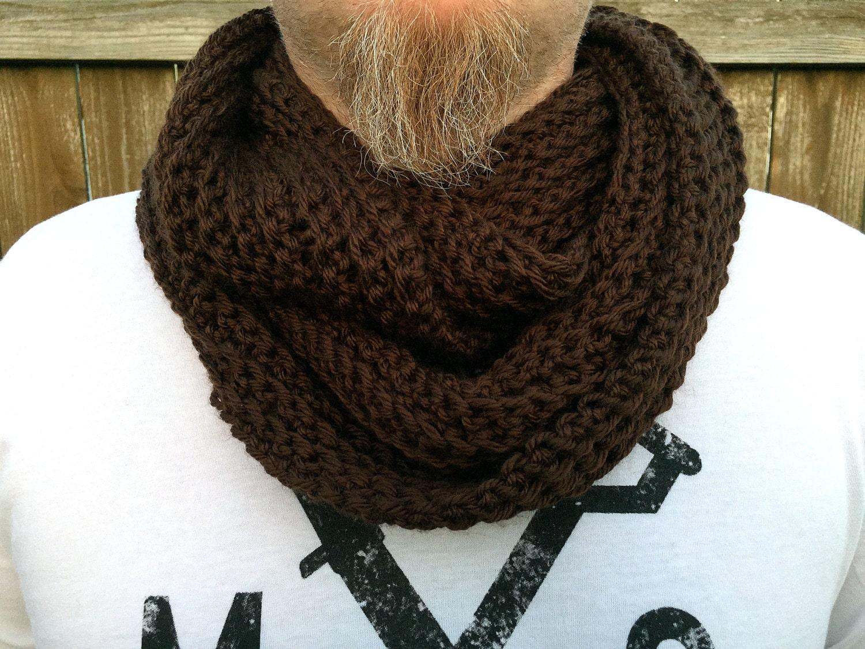 men s infinity scarf brown men s cowl scarf crochet mens scarf