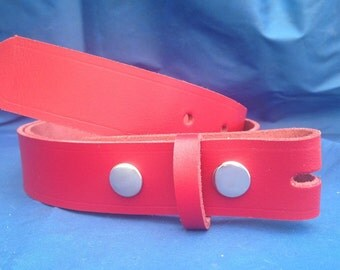 Red Leather Press Stud Snap Belt Choice of Widths & Sizes Handmade Real Leather