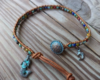 Mermaid Dolphin Colorful Bohemian Leather Anklet Beach Boho Bohemian Jewelry Mermaid Jewelry Leather Anklet Leather Jewelry