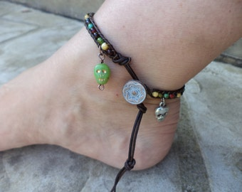 Skull Colorful Bohemian Leather Anklet Bohemian Jewelry Leather Jewelry Day of the Dead Jewelry Goth Jewelry Spooky Anklet Summer Anklet